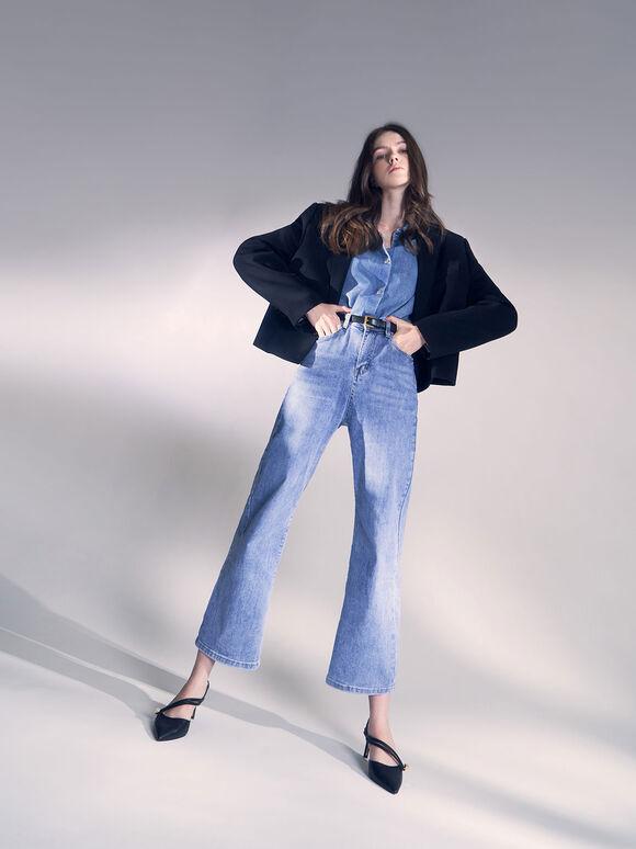 Asymmetric Strap Slingback Heels, Black, hi-res
