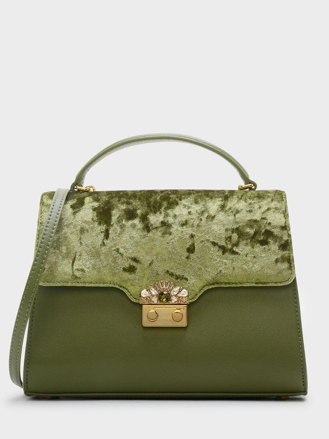 Embellished Buckle Bag, Green, hi-res