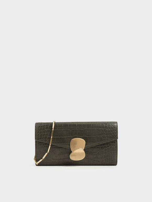 Mini Croc-Effect Metal Push Lock Wallet, Olive, hi-res