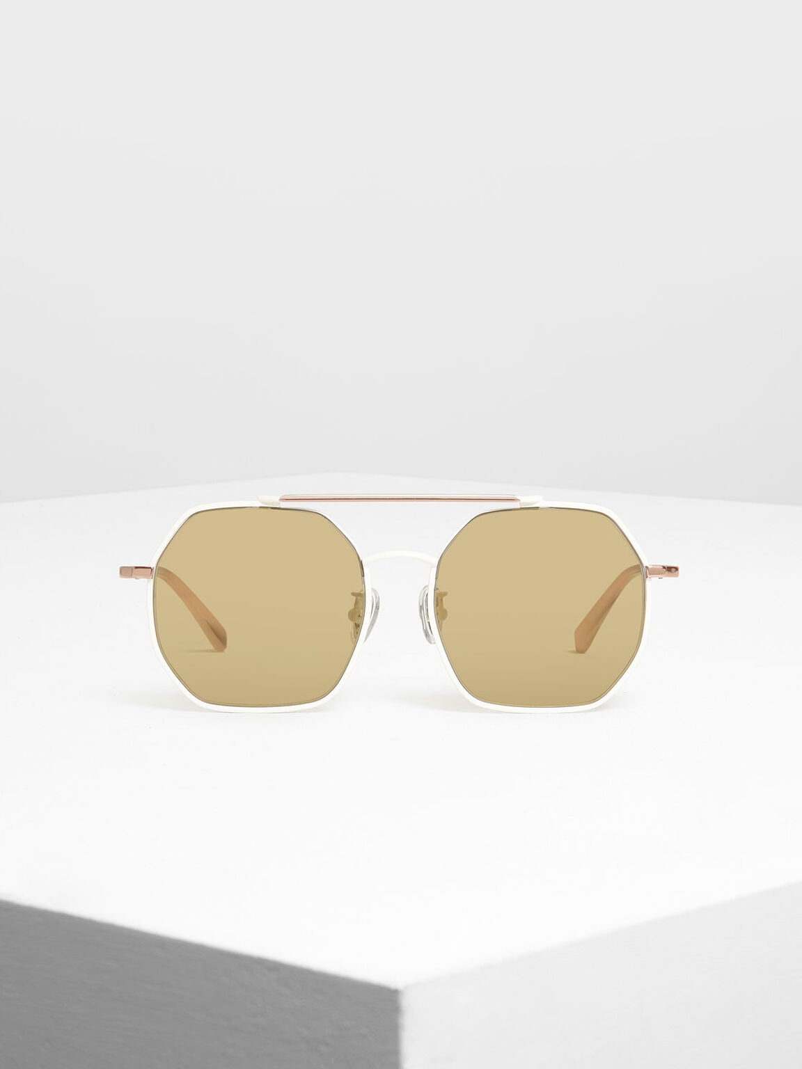 Geometrical Frame Sunglasses, White, hi-res