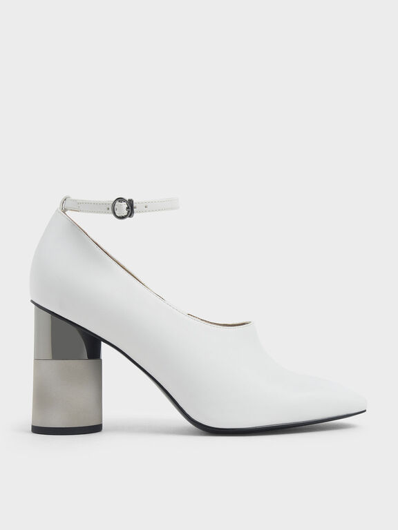 Ankle Strap Concrete Heel Pump, White