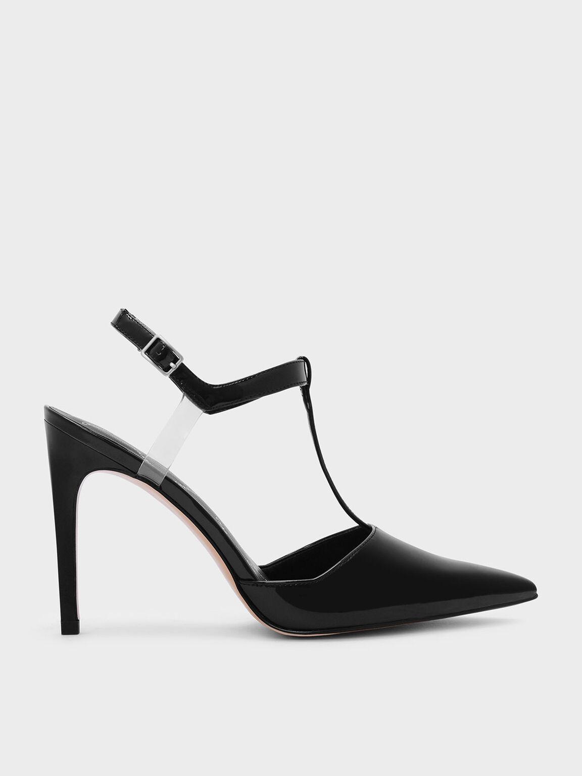 T-Bar Pointed Heels, Black, hi-res