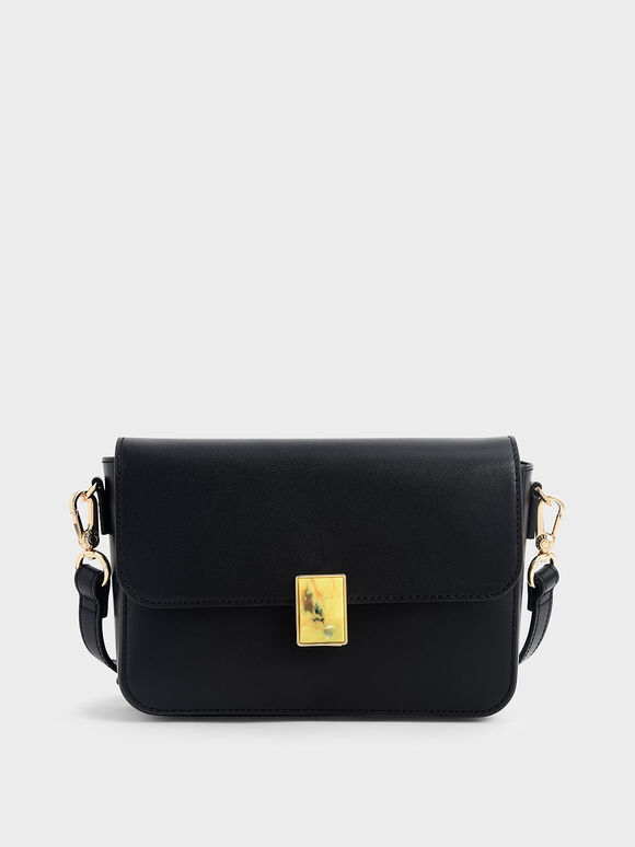 Leather Embellished Push-Lock Crossbody Bag, Black, hi-res