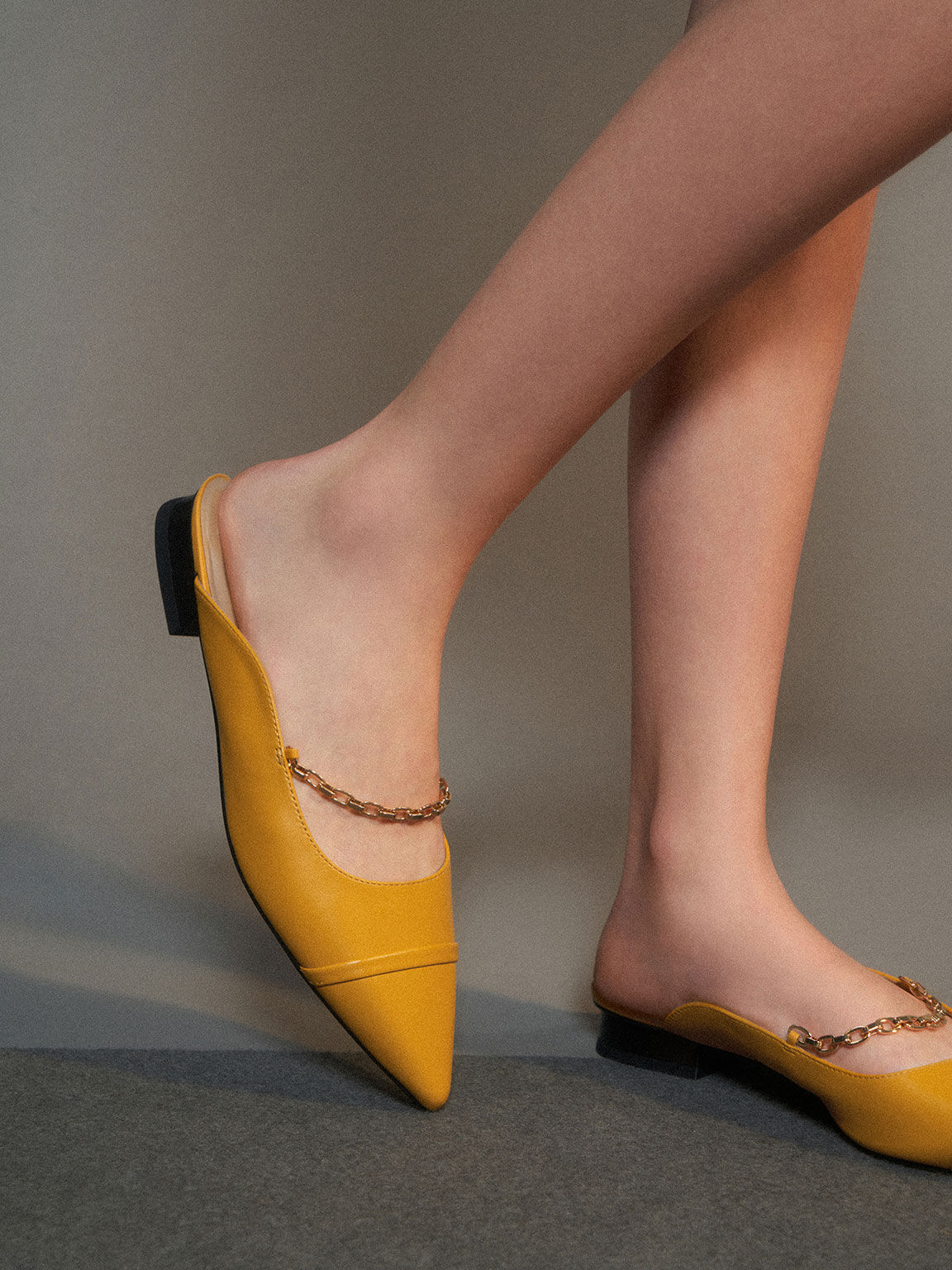 Leather Chain Link Flat Mules, Yellow, hi-res