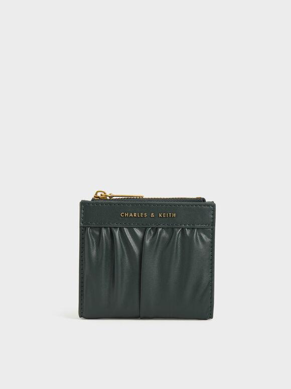 Ruched Short Wallet, Dark Green, hi-res