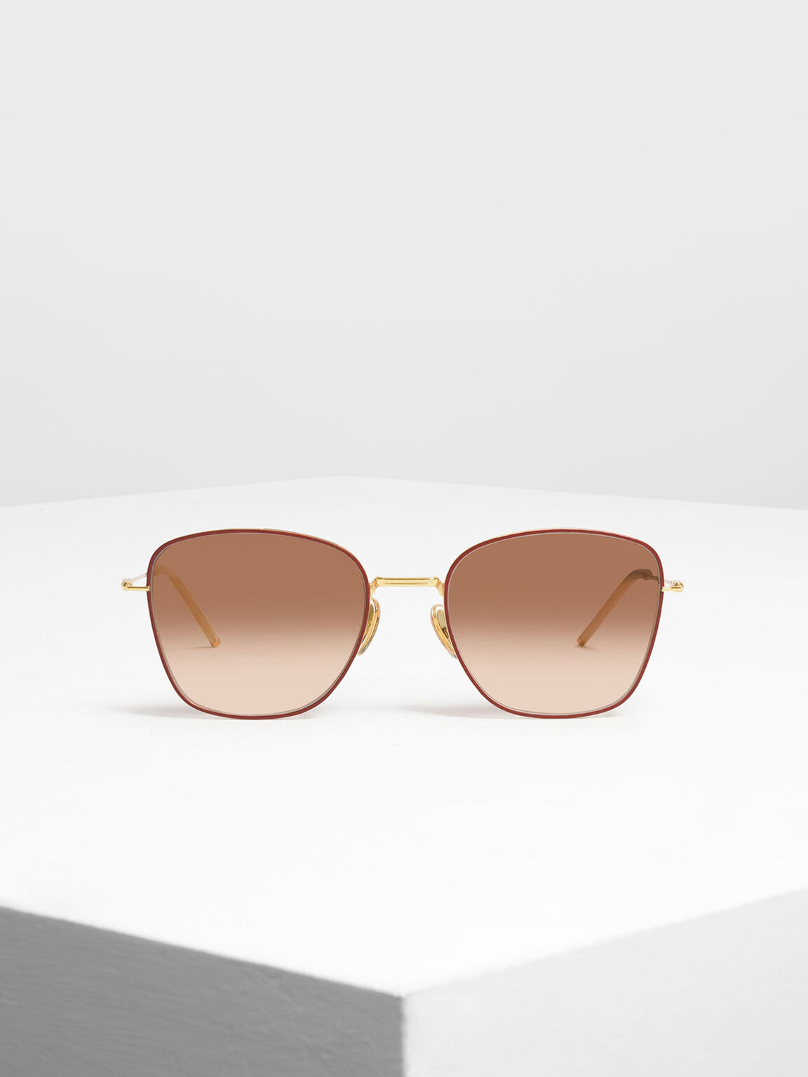 Classic Rectangular Sunglasses, Brick, hi-res