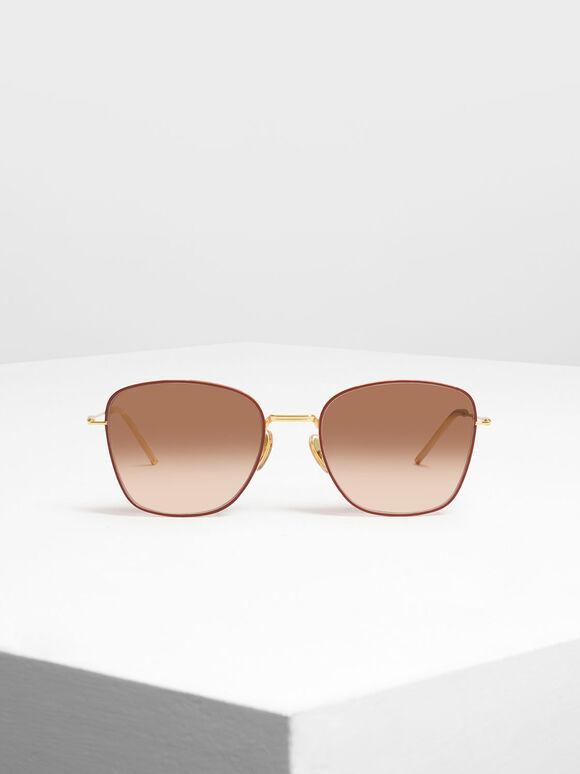 Classic Rectangular Sunglasses, Brick, hi-res