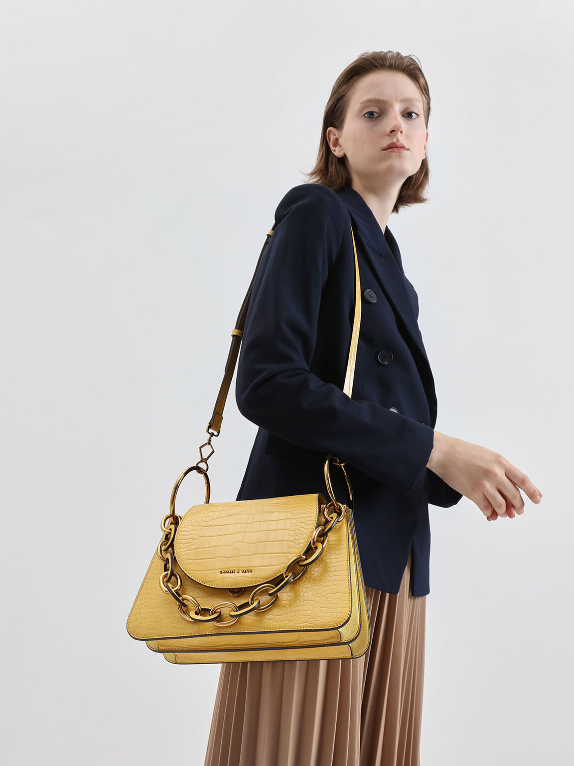 Croc-Effect Chunky Chain Link Shoulder Bag, Yellow, hi-res