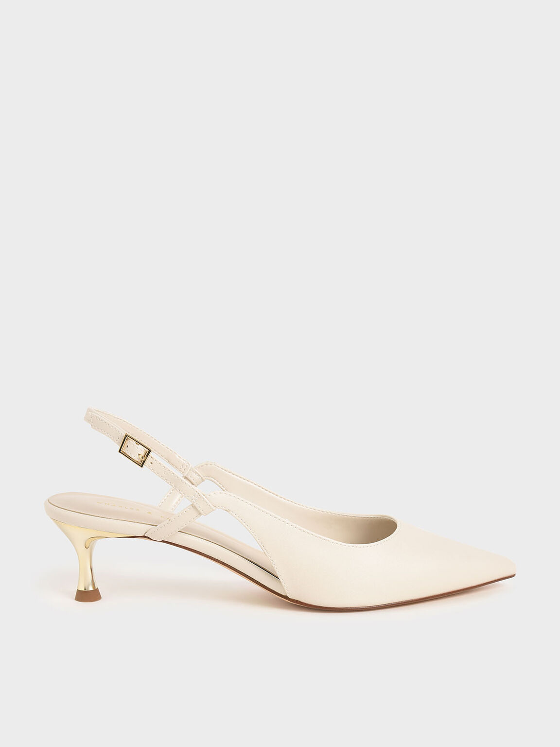 Cut-Out Slingback Kitten Heel Pumps, Chalk, hi-res