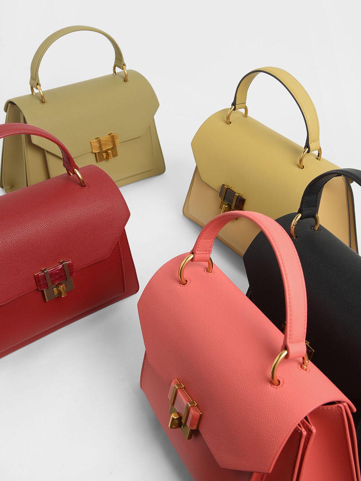 Stone-Embellished Geometric Bag, Red, hi-res