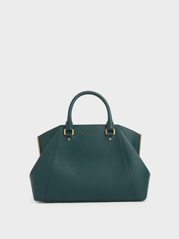 Large Geometric Top Handle Bag, Dark Green, hi-res