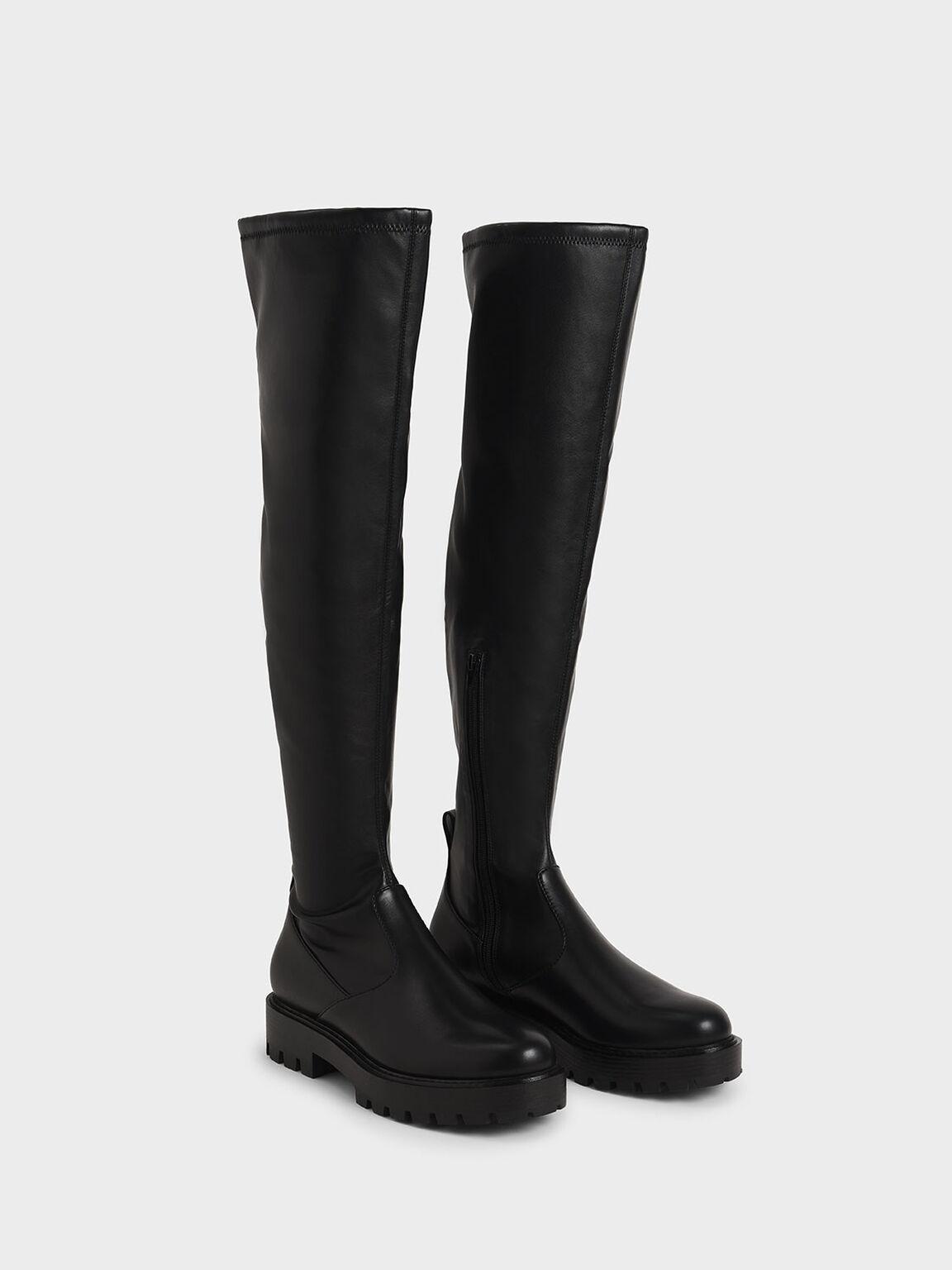 Thigh High Platform Boots, Black, hi-res