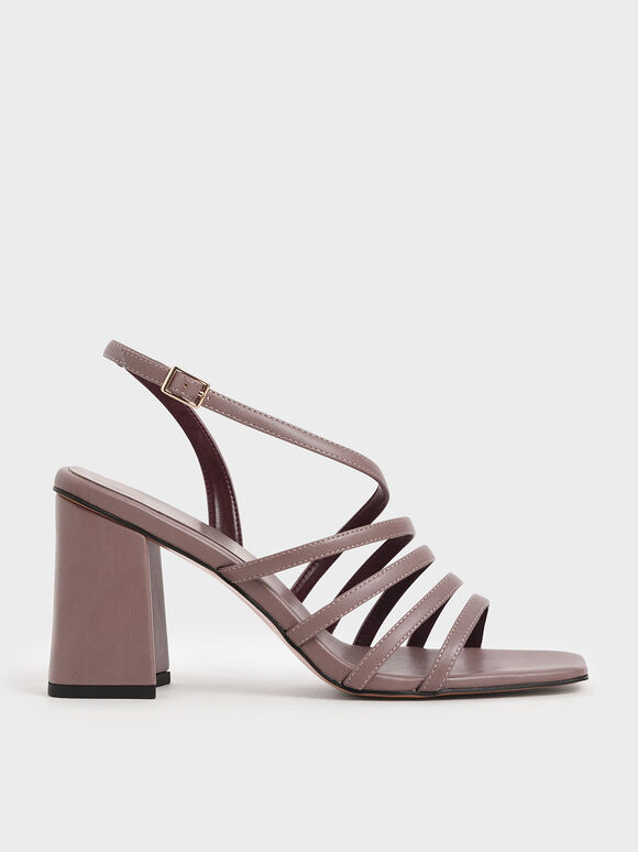Strappy Chunky Heel Sandals, Mauve, hi-res