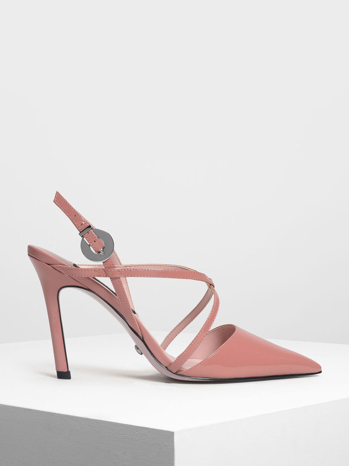 Strappy Criss Cross Leather Heels, Nude, hi-res
