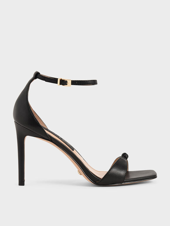Leather Knot Detail Heeled Sandals, Black, hi-res