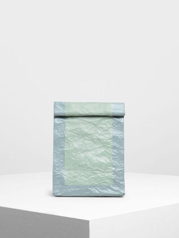 Paper Bag Clutch, Mint Green, hi-res