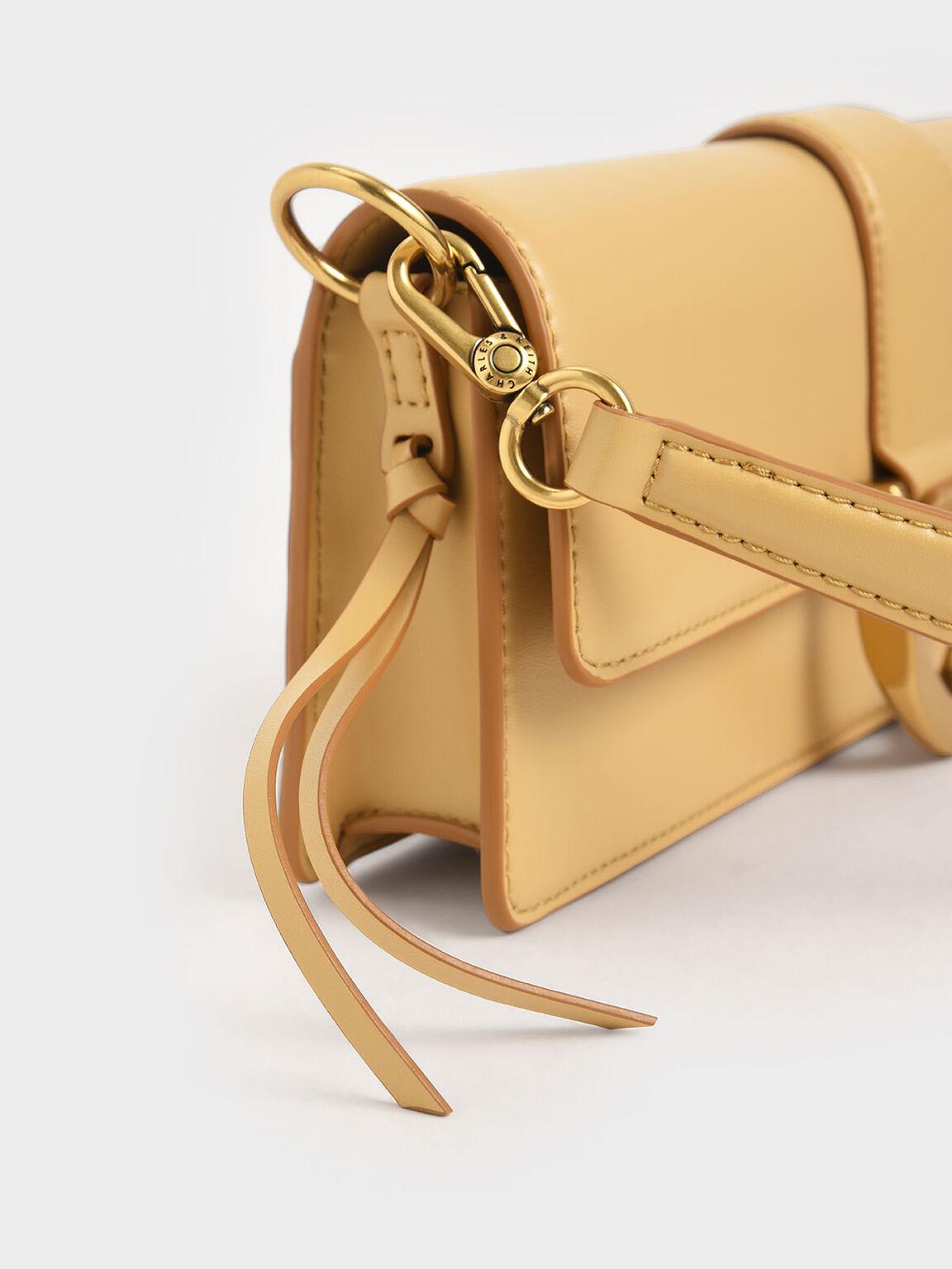 Metallic Buckle Shoulder Bag, Yellow, hi-res
