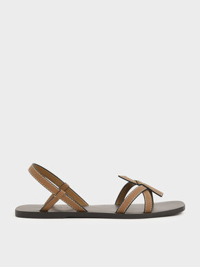 Front Knot Tie Slingback Sandals, Camel