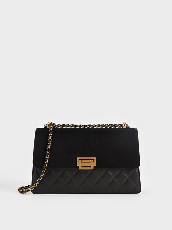 Quilted Shoulder Bag, Black, hi-res