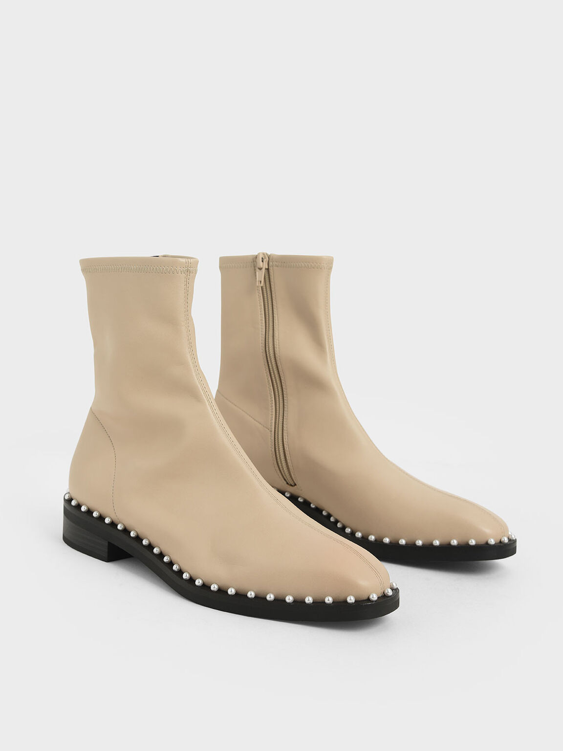 Stud-Trim Ankle Boots, Beige, hi-res