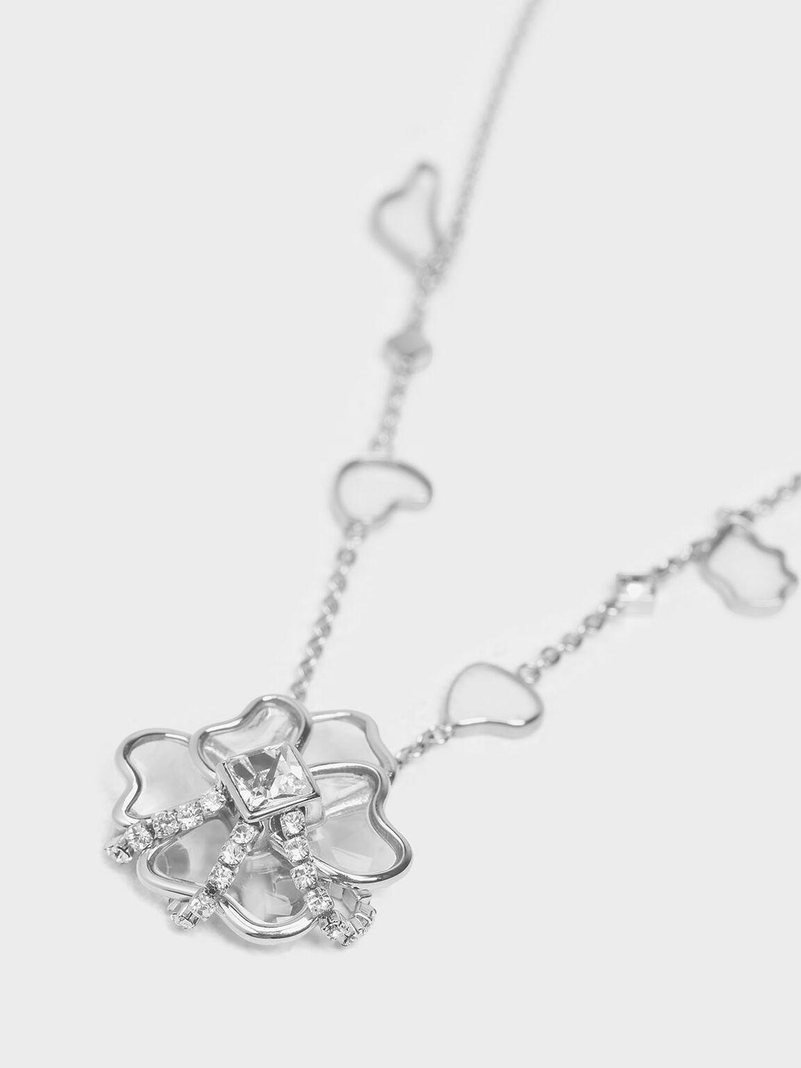 Crystal & Acrylic Petal Necklace, Silver, hi-res