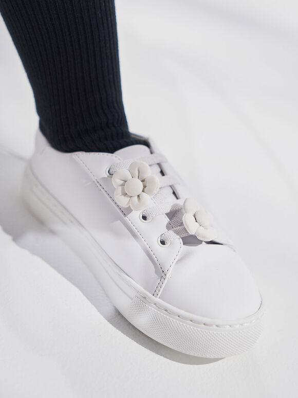 Girls' Flower Embellished Sneakers, White, hi-res