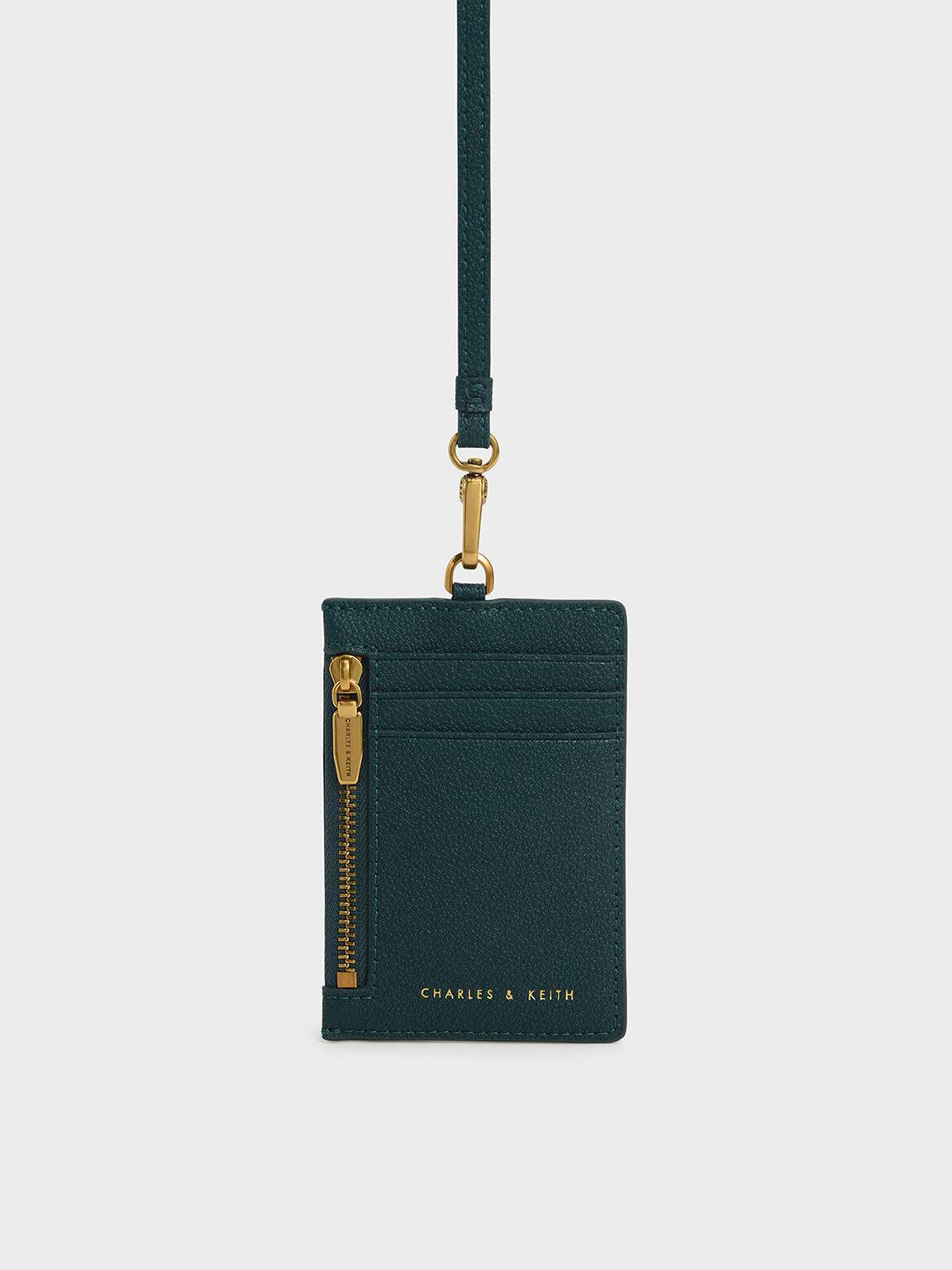 Side Zip Card Holder, Green, hi-res