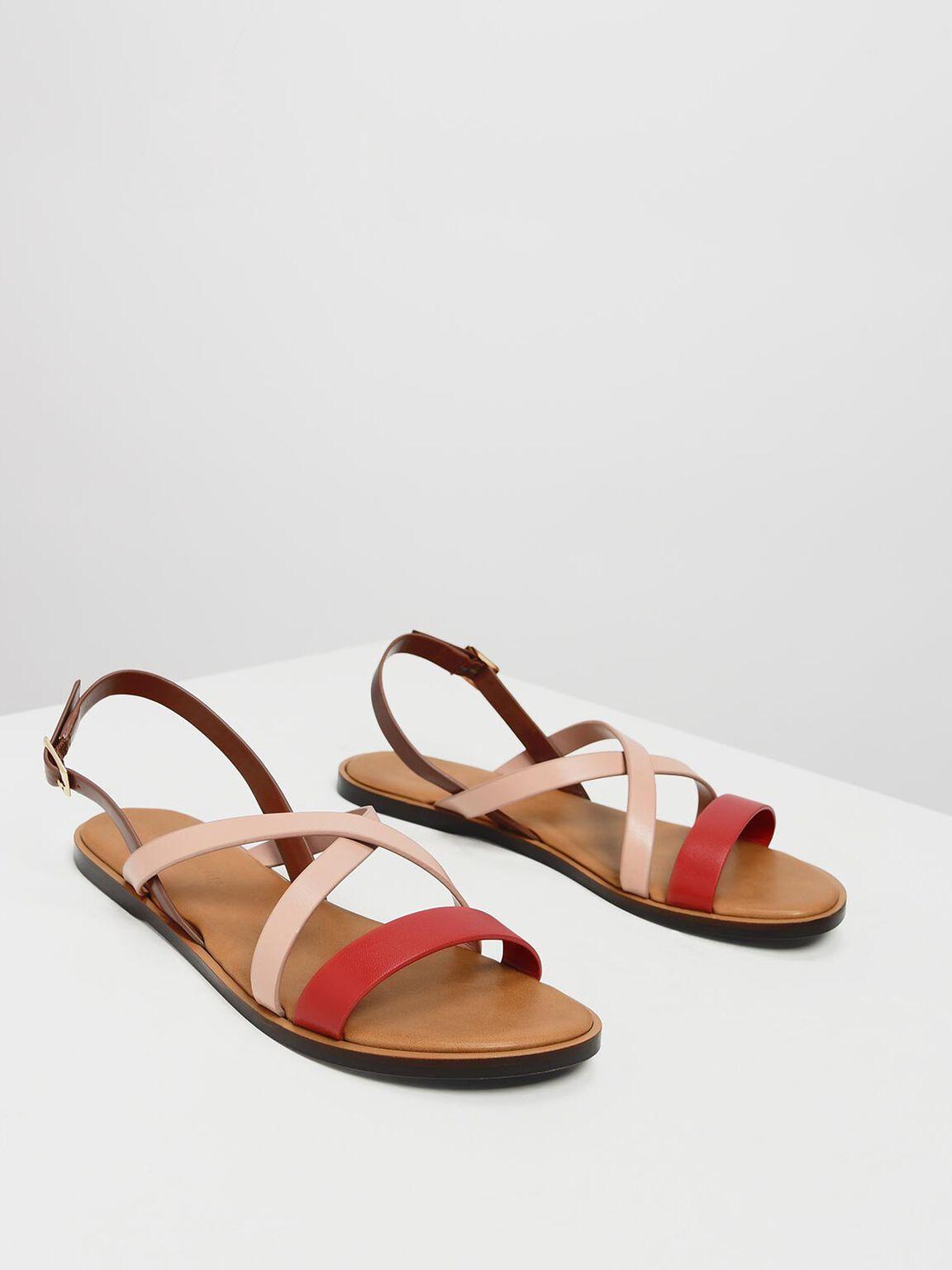Contrast Strap Crossband Sandals, Pink, hi-res
