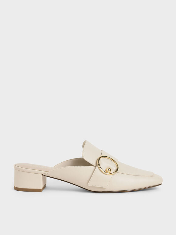 Ring Embellished Loafer Mules, Chalk, hi-res