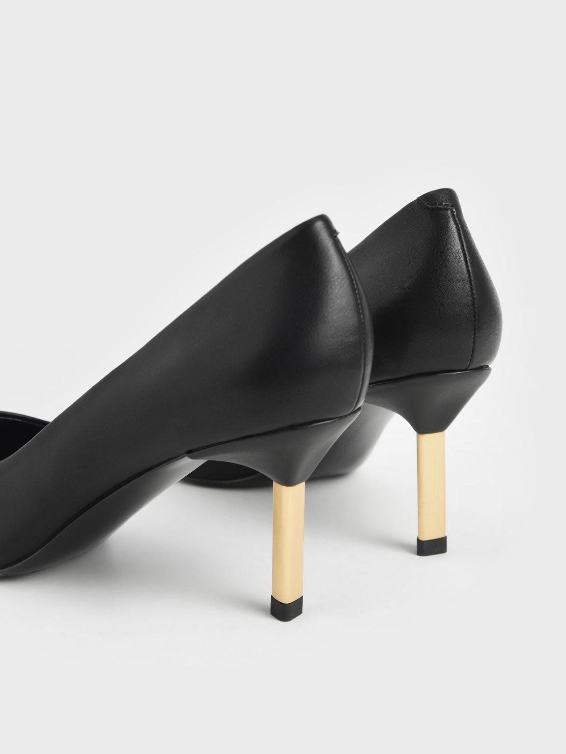 Metallic Stiletto Heel Pumps, Black, hi-res