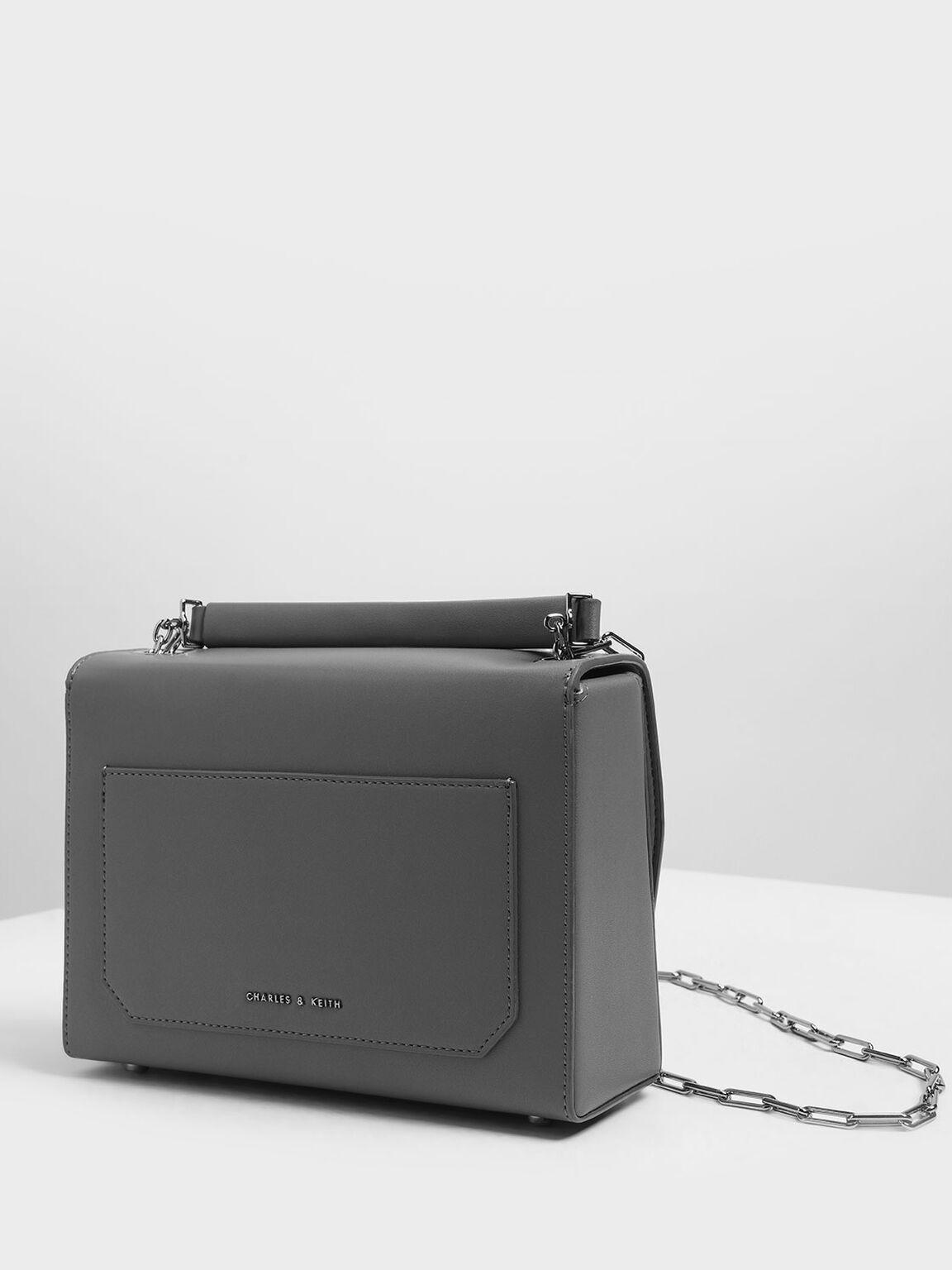 Metallic Accent Single Handle Bag, Grey, hi-res