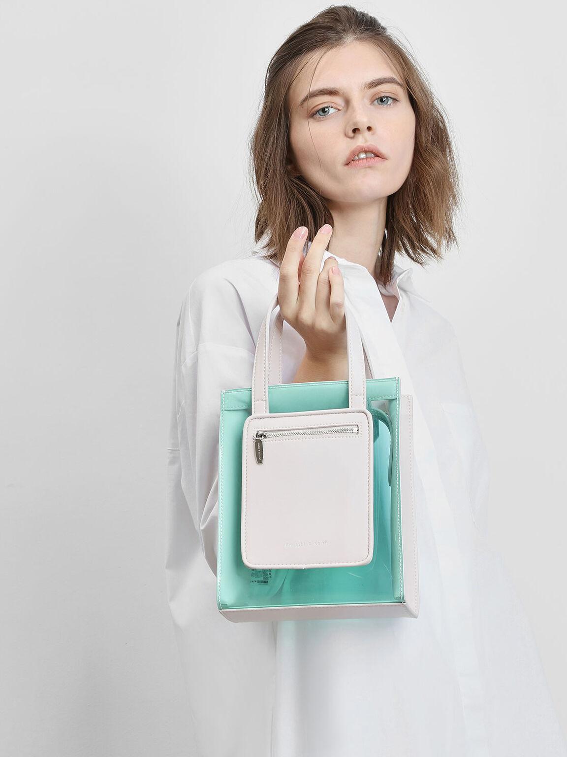 Zipper Compartment Transparent Bag, Light Pink, hi-res