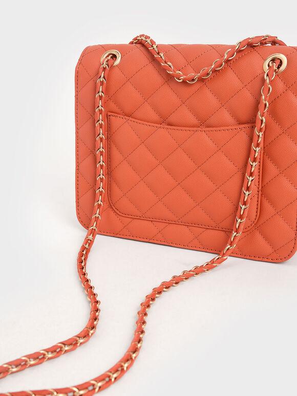 Quilted Chain Strap Clutch, Orange, hi-res