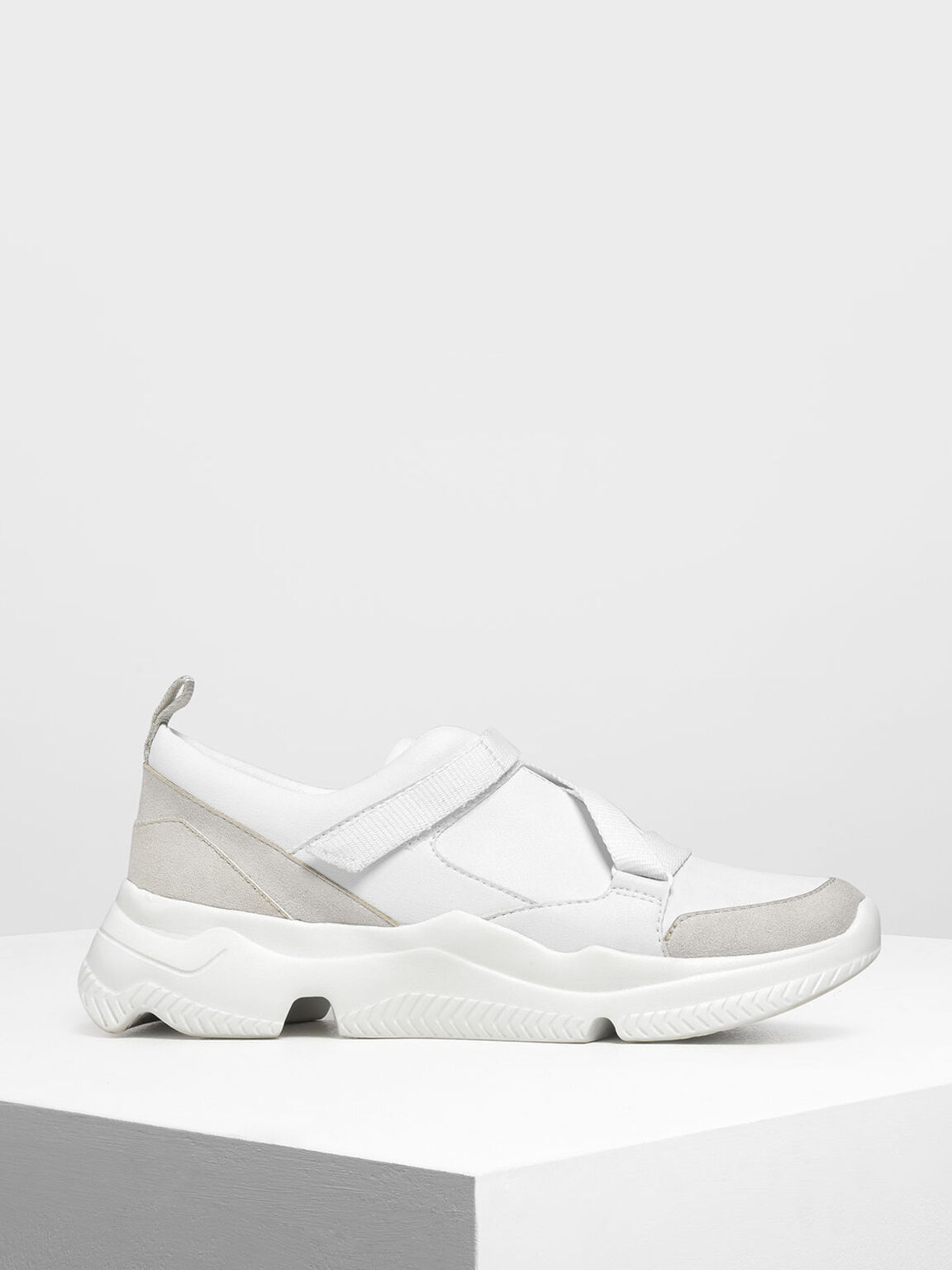 Velcro Slip-On Sneakers, White, hi-res