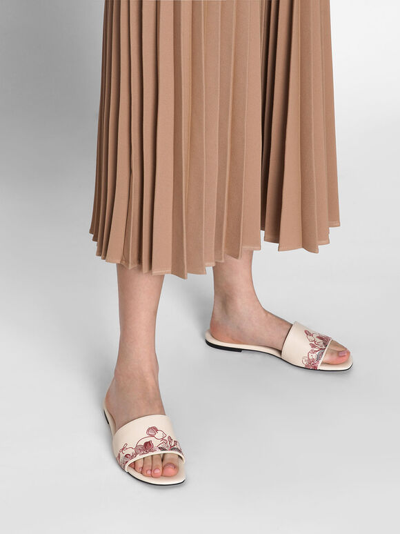 Embroidered Slide Sandals, Cream, hi-res