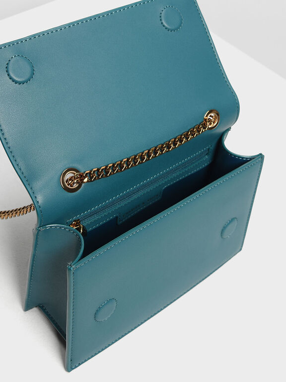 Chain Detail Front Flap Bag, Teal