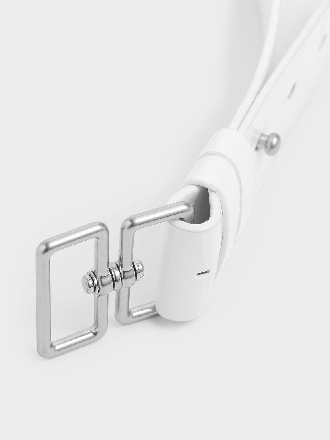 Croc-Effect Double Buckle Waist Belt, White, hi-res