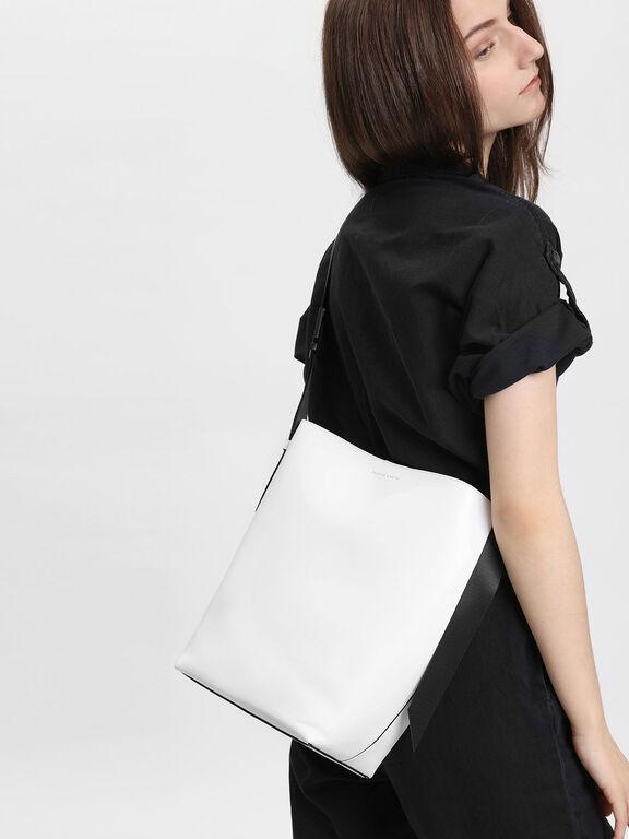Nylon Strap Tote Bag, White