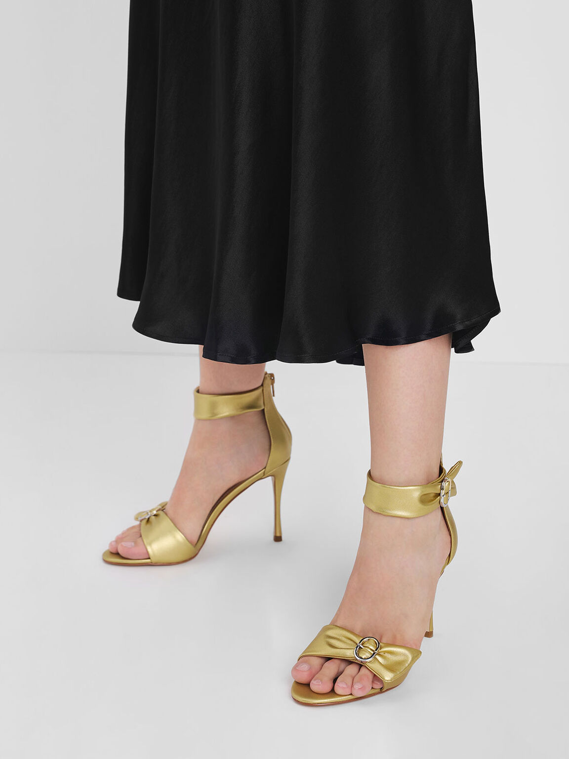 Ruched Two-Tone Buckle Stiletto Heels, Gold, hi-res