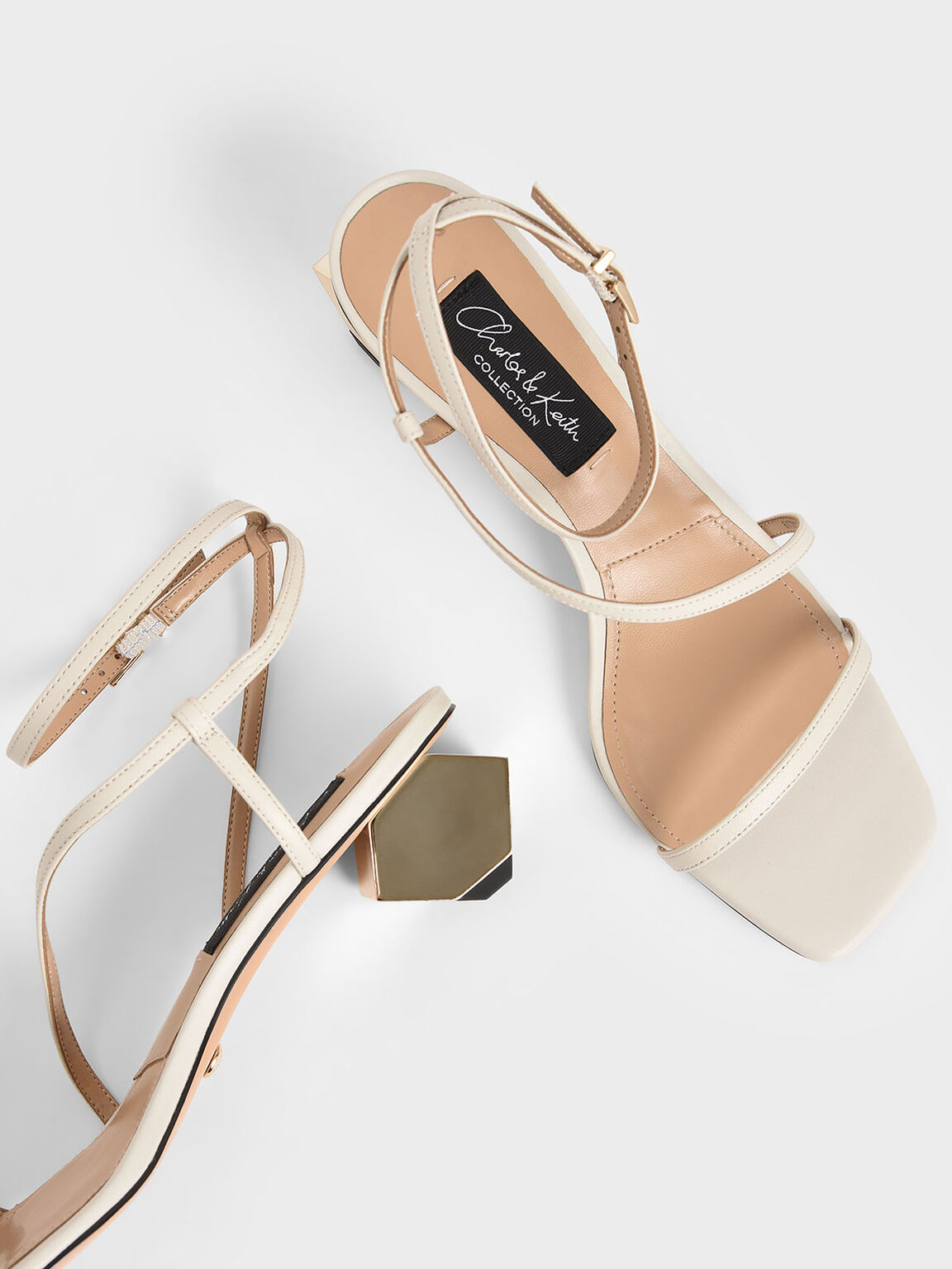 Leather Sculptural Heel Sandals, Chalk, hi-res