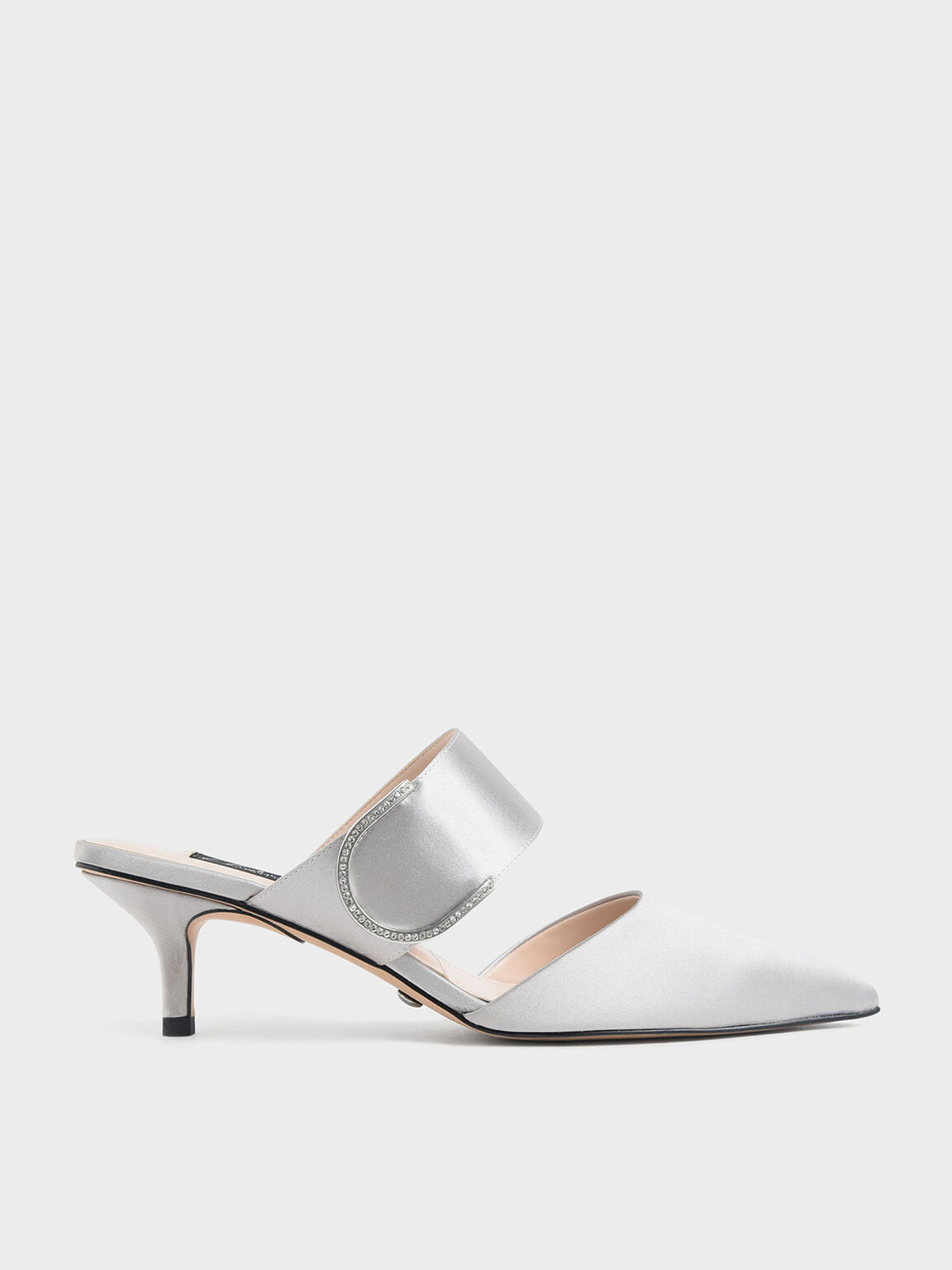 Satin Gem Encrusted Mules, Silver, hi-res