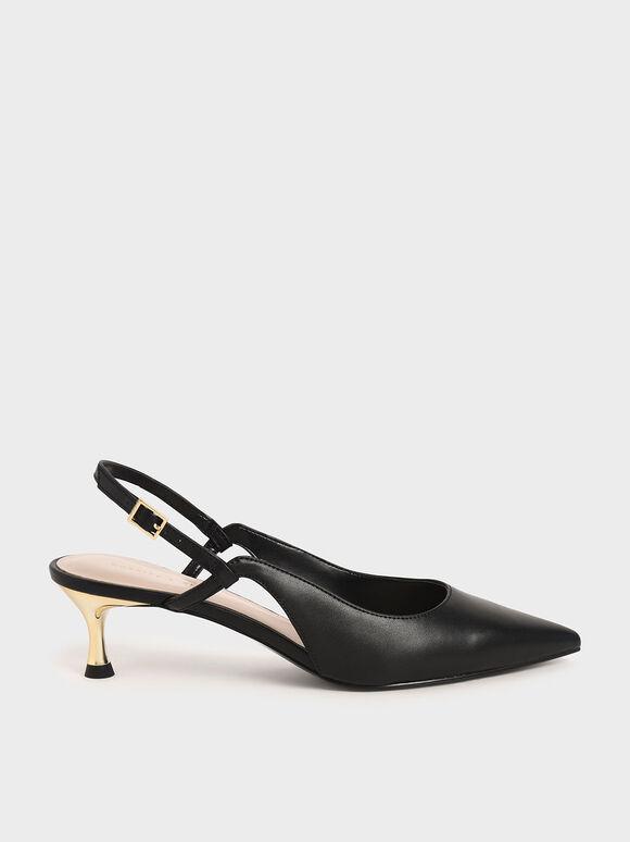 Cut-Out Slingback Kitten Heel Pumps, Black, hi-res