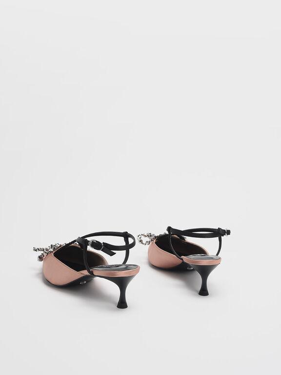 Beaded Bow Satin & Leather Slingback Heels, Blush, hi-res