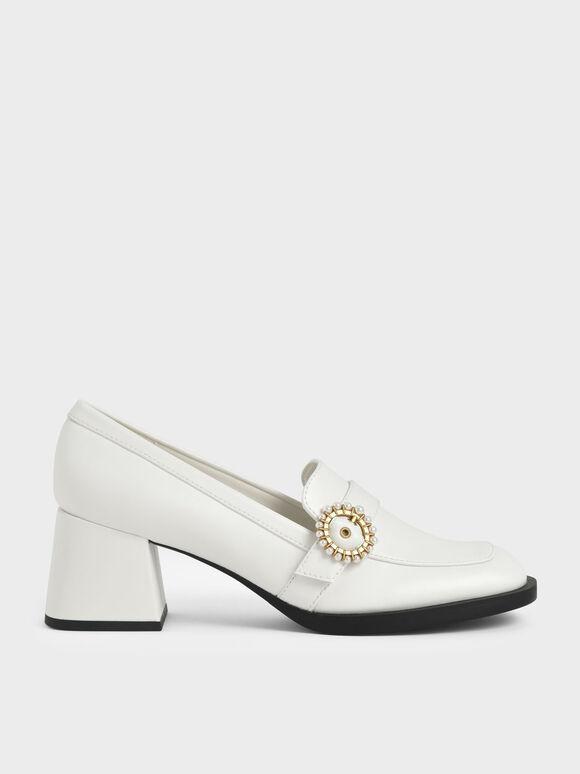 珍珠釦樂福粗跟鞋, 白色, hi-res