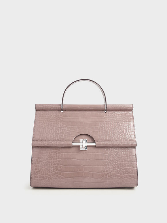 Croc-Effect Structured Single Top Handle Bag, Mauve, hi-res