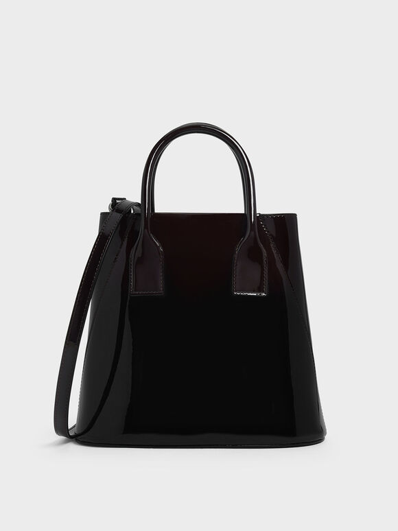 Leather Boxy Bucket Bag, Prune, hi-res