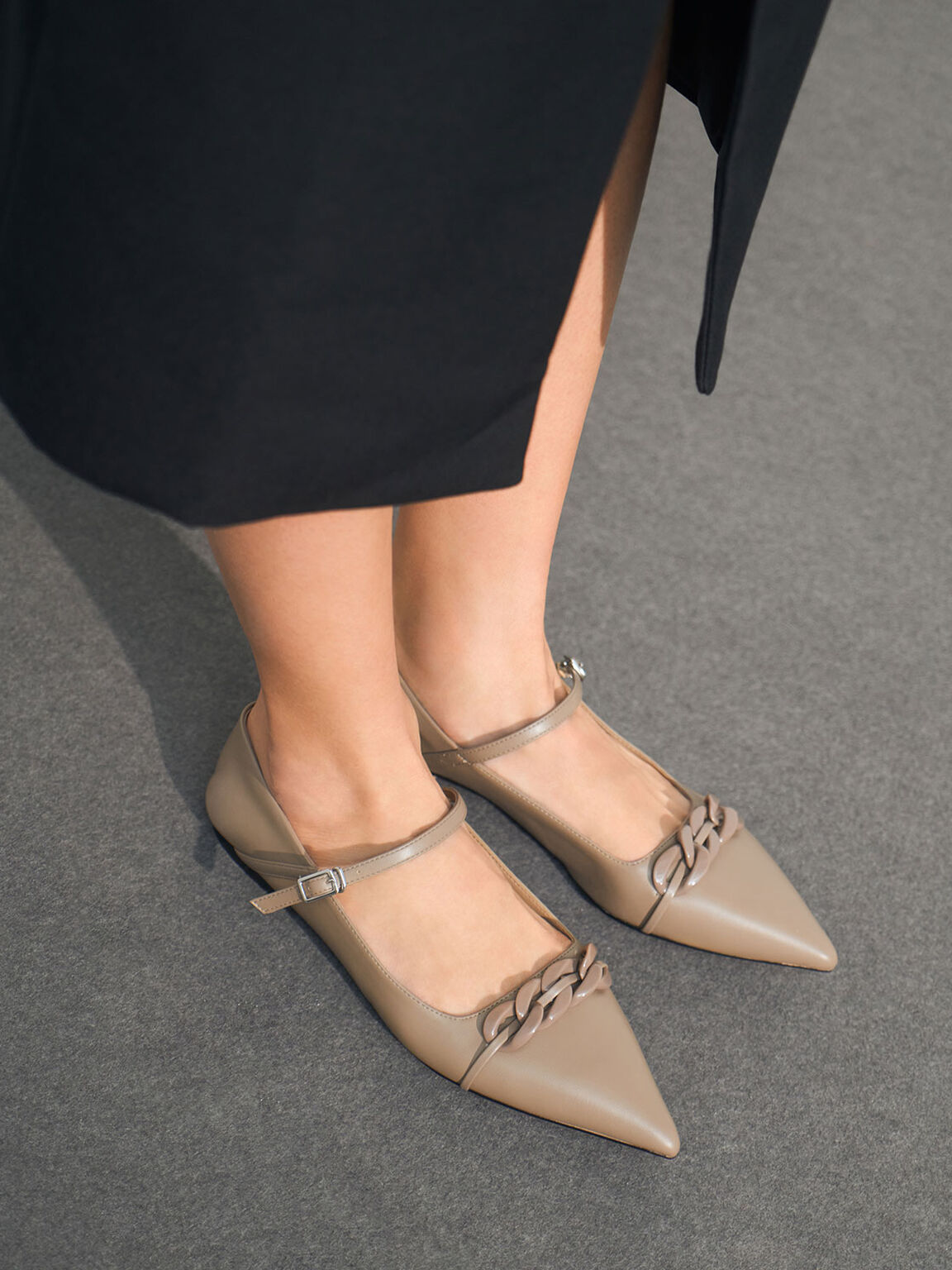 Chain Link Mary Jane Flats, Taupe, hi-res