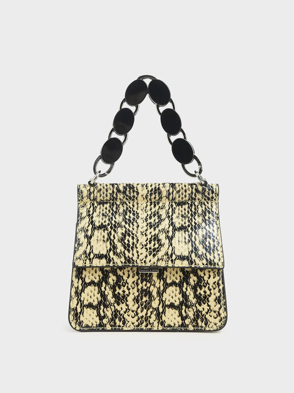 Small Snake Print Acrylic Tortoiseshell Top Handle Bag, Yellow, hi-res