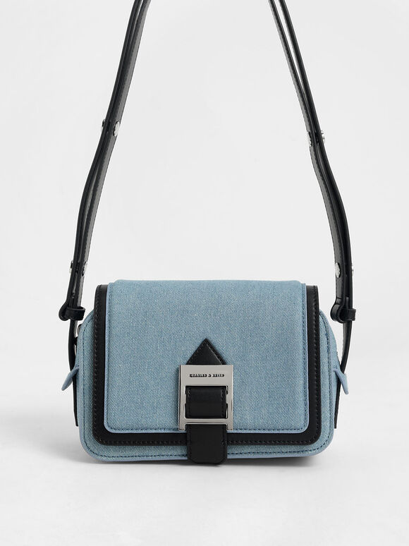 Textured Buckle Strap Shoulder Bag, Denim Blue, hi-res