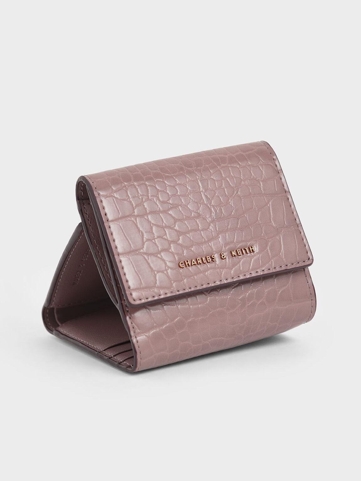 Croc-Effect Short Wallet, Mauve, hi-res